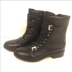 Tahari Jude Leather Laceup Buckle Boot